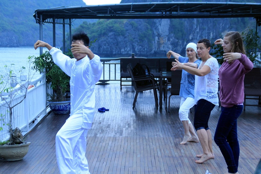 Taichi Exercise in the morning at Halong bay