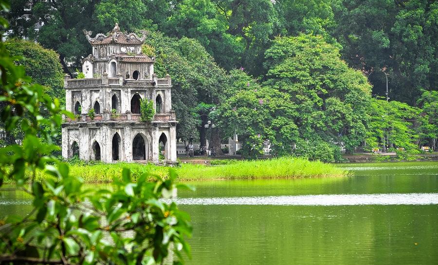 Turtle tower at Hoan Kiem Lake