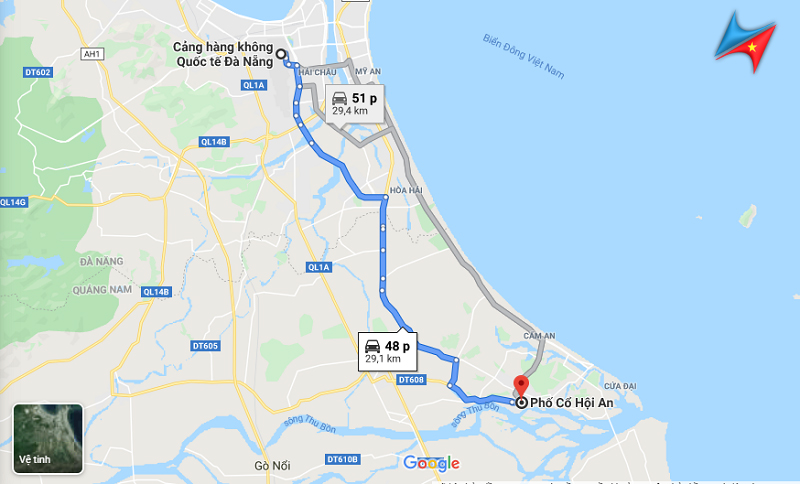 Route from Danang airport to Hoi An