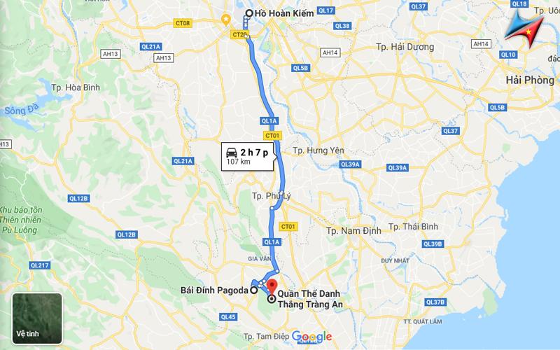 route from hanoi to bai dinh trang an vietrapro