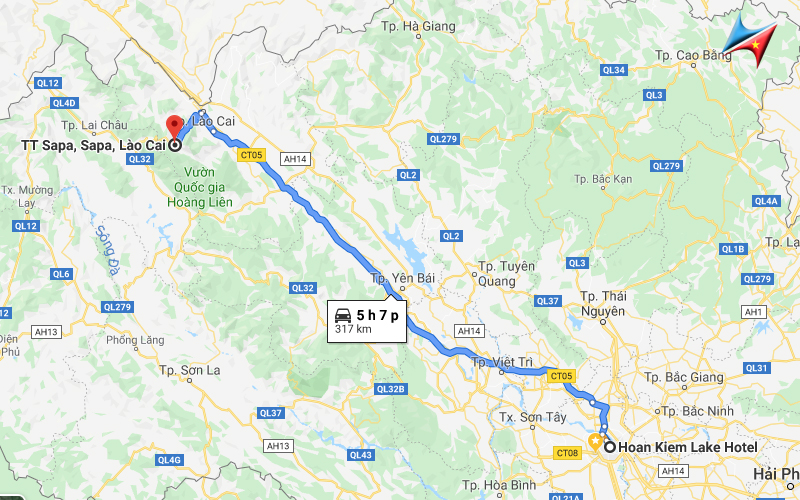 Route from Hanoi to Sapa - Vietrapro