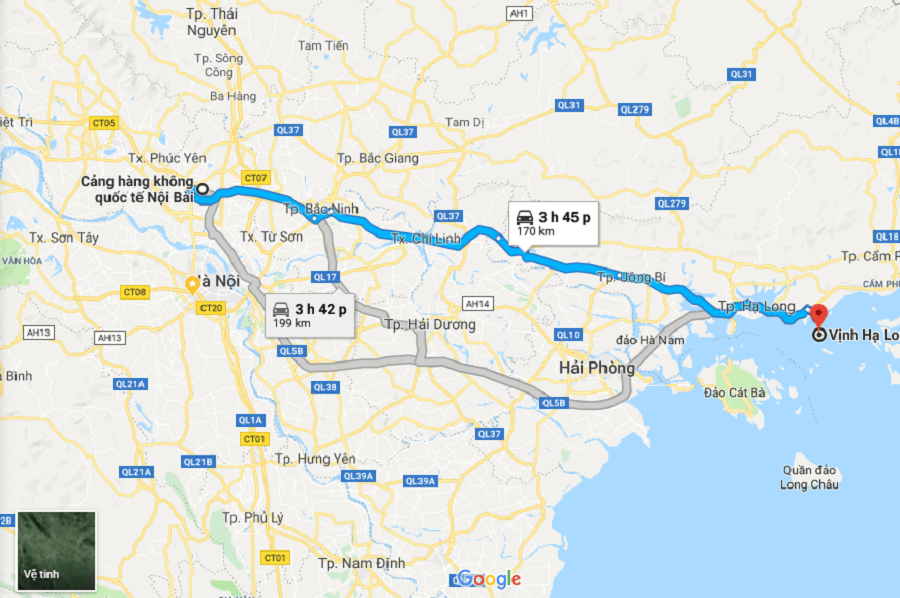 The distance from Hanoi airport to Halong bay