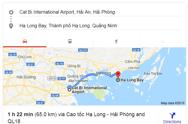 Cat Bi airport to Halong Bay