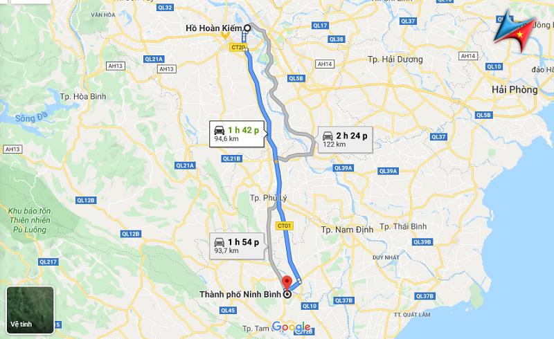 Lộ trình Hà Nội - Ninh Bình