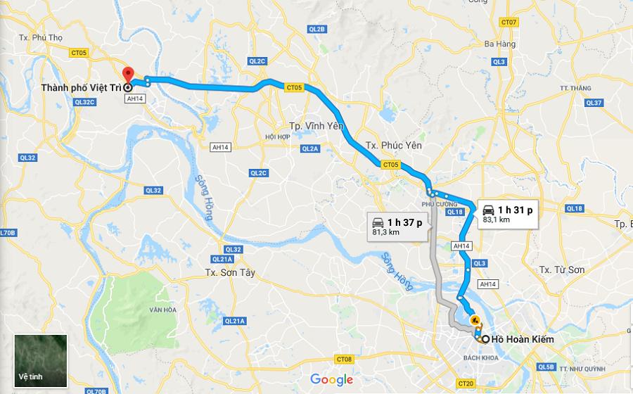 Lộ trình từ Hà Nội đi Việt Trì