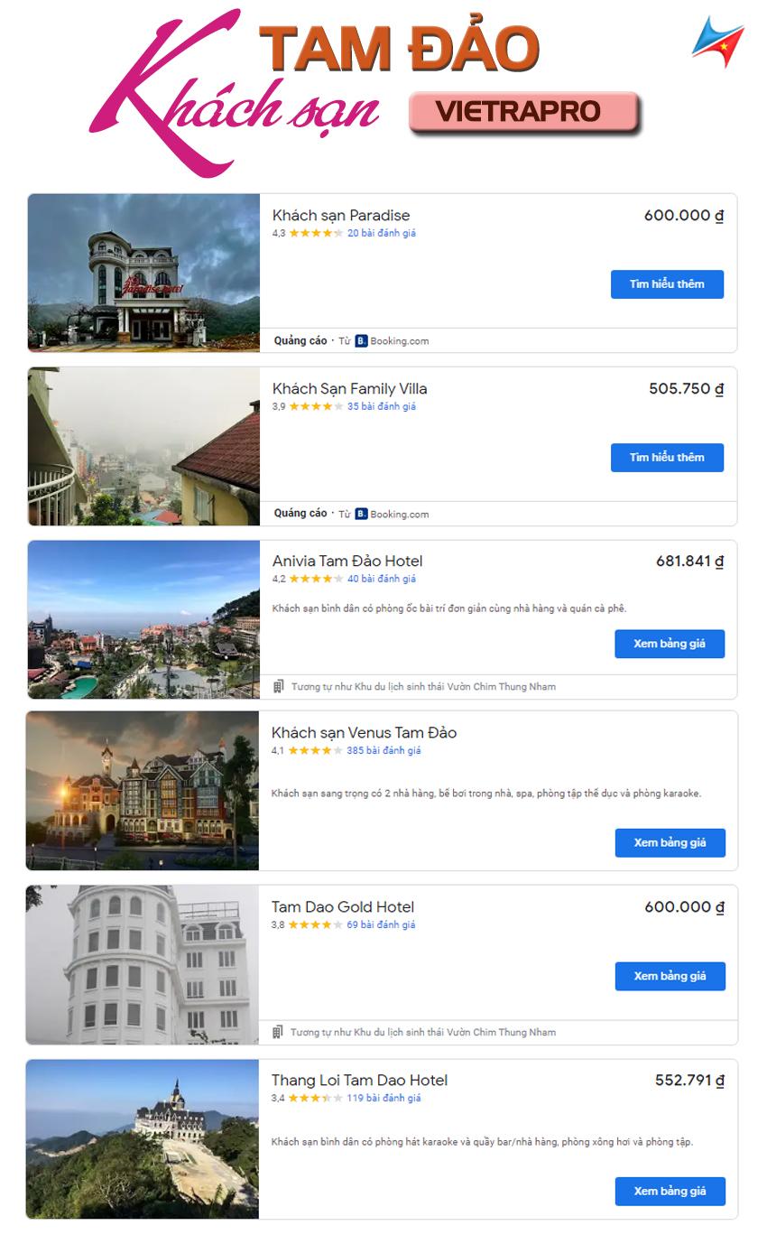 chi phí đi tam đảo dành cho khách sạn