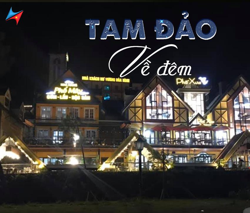 Hình ảnh trung tâm thị trấn tam đảo ban đêm